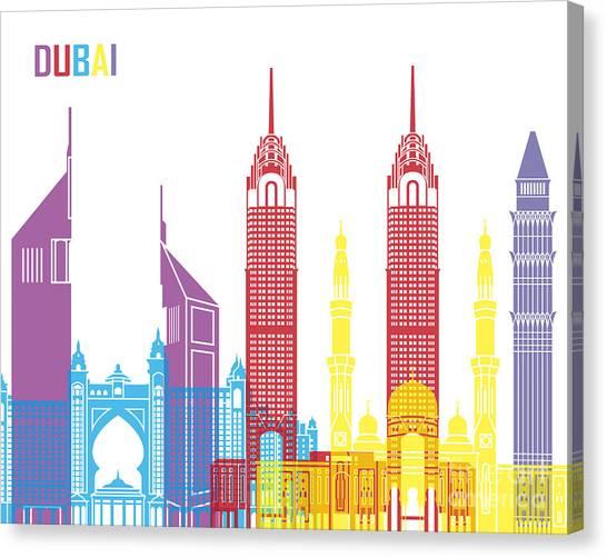 Dubai Skyline Canvas Print - Dubai Skyline Pop by Pablo Romero