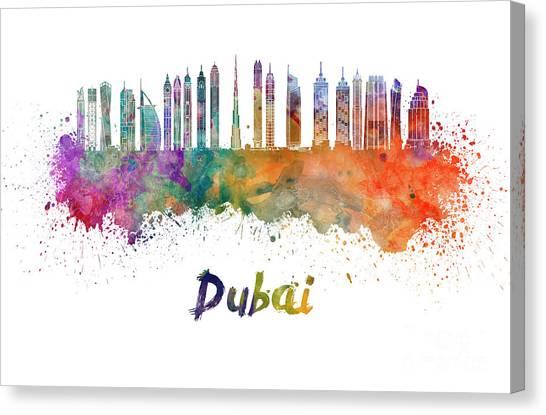 Dubai Skyline Canvas Print - Dubai V2 Skyline In Watercolor by Pablo Romero