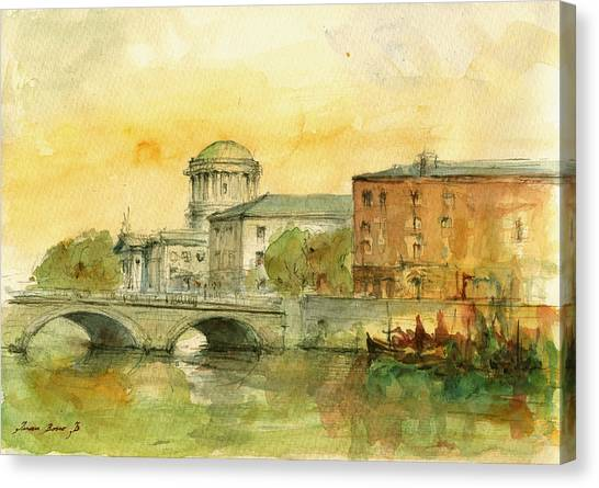 Ireland Canvas Print - Dublin Cityscape by Juan  Bosco