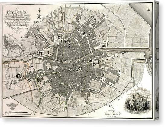 Waterford Canvas Print - Dublin Ireland Map Ca1797 by Jon Neidert