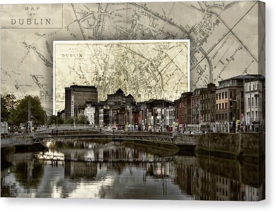 Dublin Skyline Mapped Canvas Print