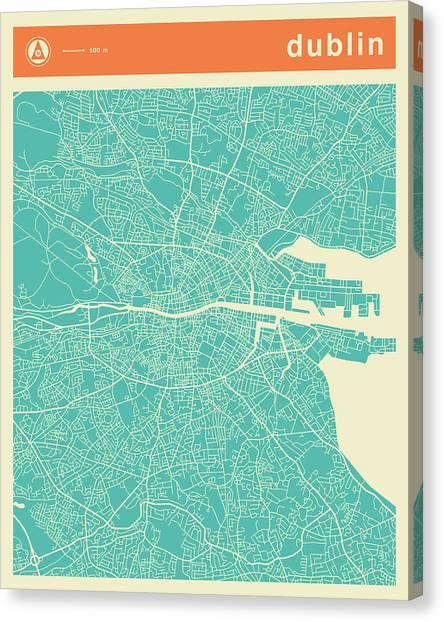 Dublin Canvas Print - Dublin Street Map by Jazzberry Blue