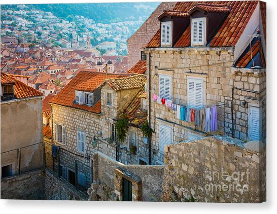Fortification Canvas Print - Dubrovnik Clothesline by Inge Johnsson