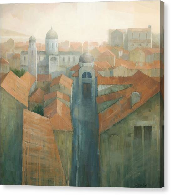 Canvas Print featuring the painting Dubrovnik Rooftops by Steve Mitchell