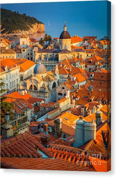 Fortification Canvas Print - Dubrovnik Sunset by Inge Johnsson