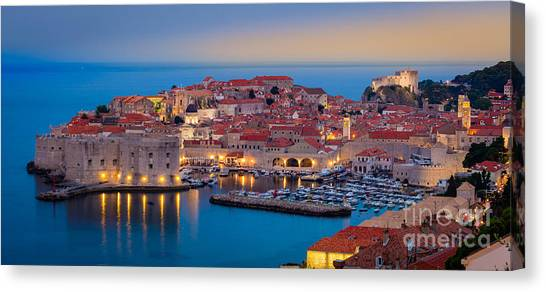 Fortification Canvas Print - Dubrovnik Twilight Panorama by Inge Johnsson