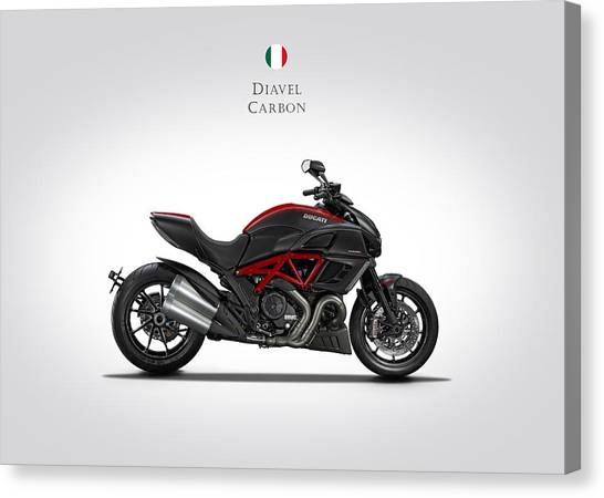 Ducati Canvas Print - Ducati Diavel Carbon by Mark Rogan