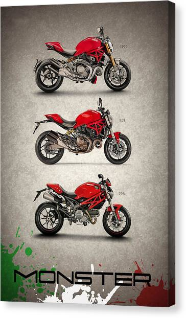 Ducati Canvas Print - Ducati Monster Trio by Mark Rogan