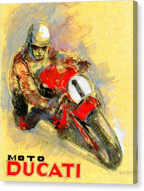 Ducati Canvas Print - Ducati Vintage Motorcycle Ad by John Farr