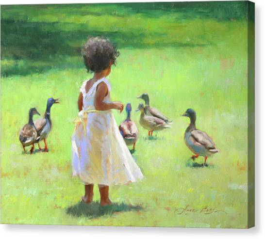 Ducks Canvas Print - Duck Chase by Anna Rose Bain