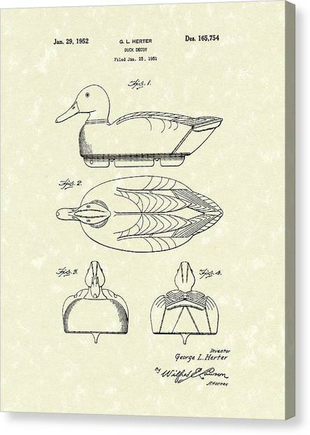 Wood Duck Canvas Print - Duck Decoy 1952 Patent Art by Prior Art Design