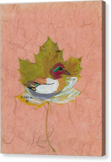 Duck On Pond Canvas Print