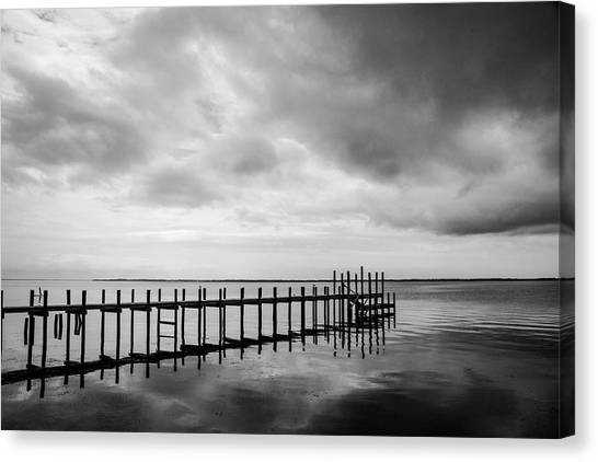 Duck Pier In Black And White Canvas Print