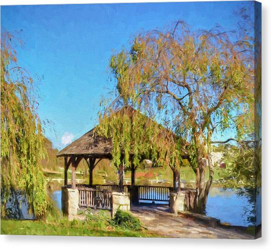 Duck Pond Gazebo At Virginia Tech Canvas Print