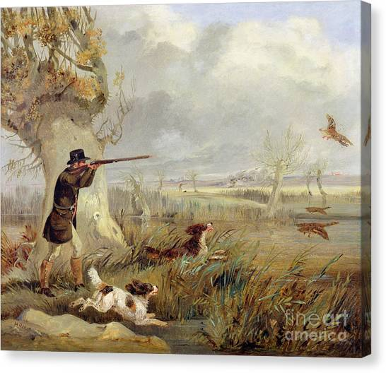 Shotguns Canvas Print - Duck Shooting  by Henry Thomas Alken