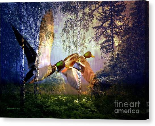 Ducks Flying To The Lake Canvas Print