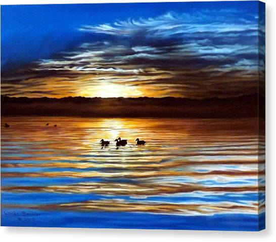 Ducks On Clear Lake Canvas Print