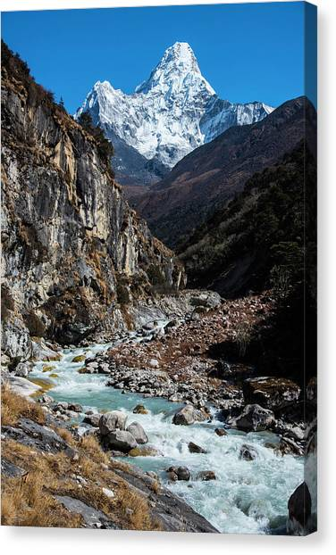 Canvas Print featuring the photograph Dudh Kosi River By Ama Dablam by Owen Weber