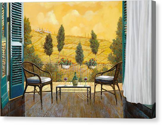 Food And Beverage Canvas Print - due bicchieri di Chianti by Guido Borelli