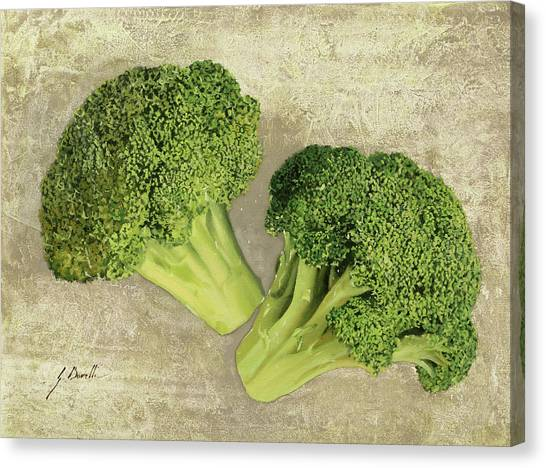 Broccoli Canvas Print - Due Broccoletti by Guido Borelli