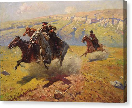 War Horse Canvas Print - Duel by Franz Roubaud