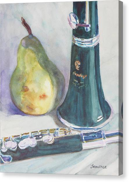 Wind Instruments Canvas Print - Duet For A Pear by Jenny Armitage