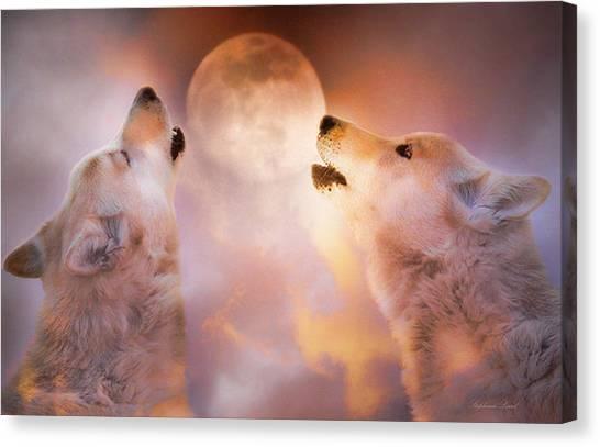 Wolf Moon Canvas Print - Duet by Stephanie Laird