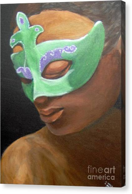 Canvas Print featuring the painting Dunbar's Mask by Saundra Johnson