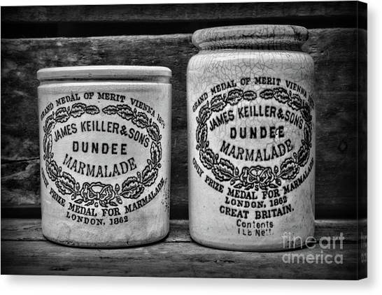 Crock Canvas Print - Dundee Marmalade Country Kitchen Black And White by Paul Ward
