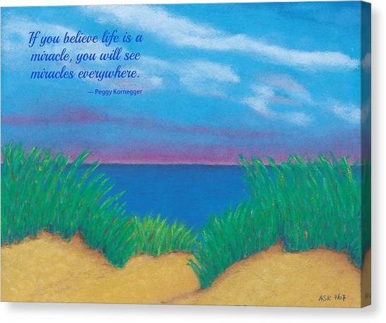 Dunes At Dawn - With Quote Canvas Print