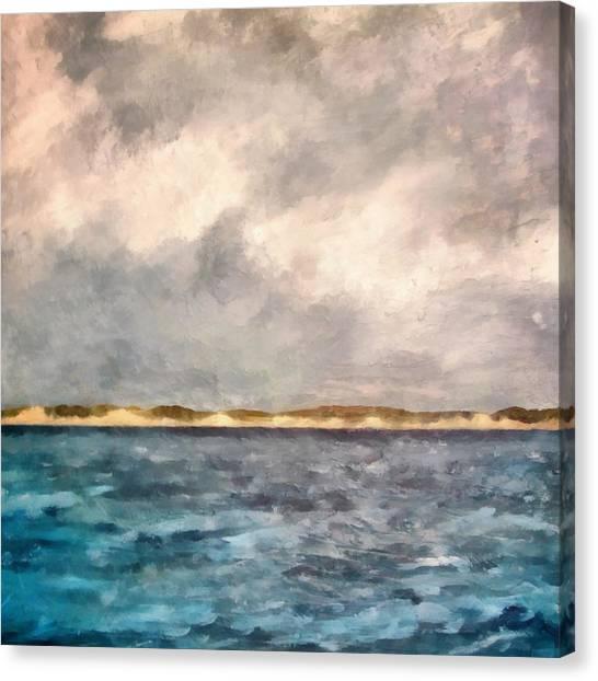 Dunes Of Lake Michigan With Rough Seas Canvas Print