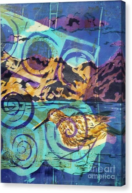 Dunlin On Mudflats Canvas Print