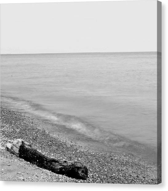 White Sand Canvas Print - Durand Beach In Bw by Justin Connor