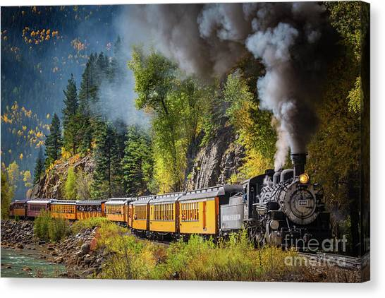 Trees Canvas Print - Durango-silverton Narrow Gauge Railroad by Inge Johnsson