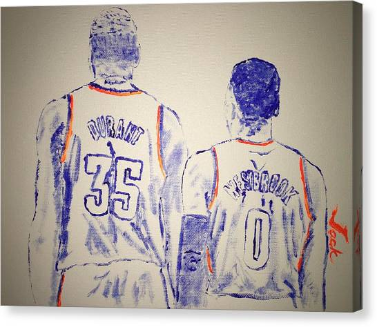 Russell Westbrook Canvas Print - Durant And Westbrook by Jack Bunds
