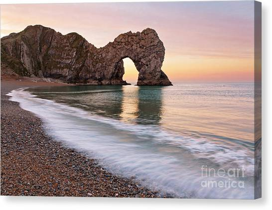 Durdle Door First Light Canvas Print by Richard Thomas