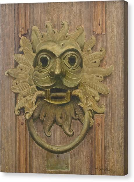 Durham Cathedral Door Knocker Canvas Print