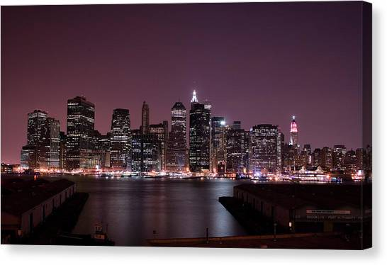 Dusk At Brooklyn Port Canvas Print