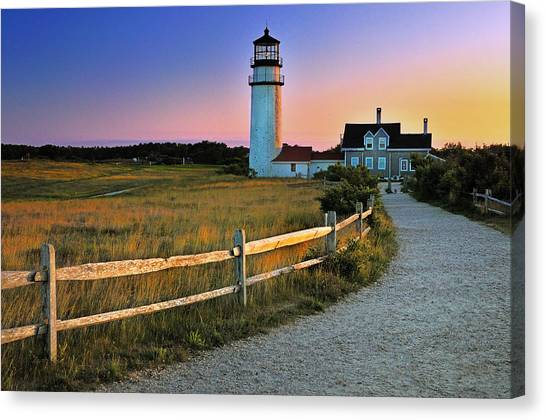Dusk At Cape Cod Lighthouse Canvas Print