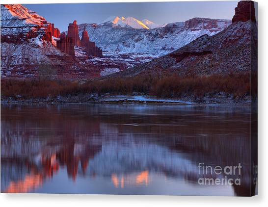 Moenkopi Sandstone Canvas Print - Dusk At Fisher Towers by Adam Jewell