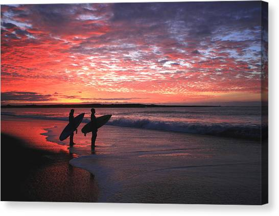 Dusk At Halfmoon Bay Canvas Print by Mike Coverdale