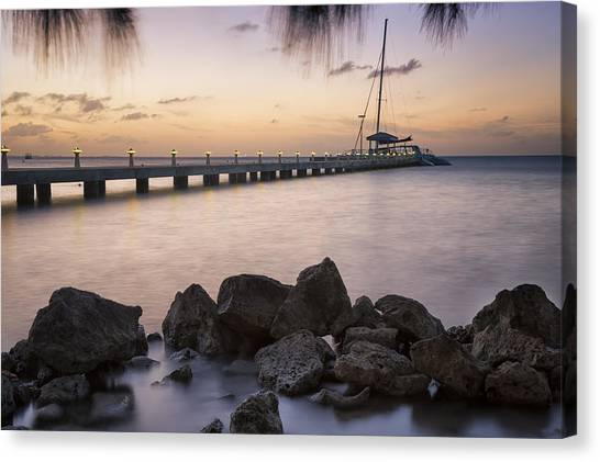 Catamarans Canvas Print - Dusk At Rum Point Grand Cayman by Adam Romanowicz