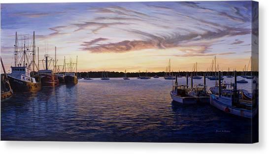 Dusk At Stonington Harbor Canvas Print by Bruce Dumas