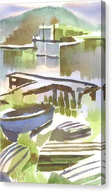 John Boats Canvas Print - Dusk At The Boat Dock by Kip DeVore