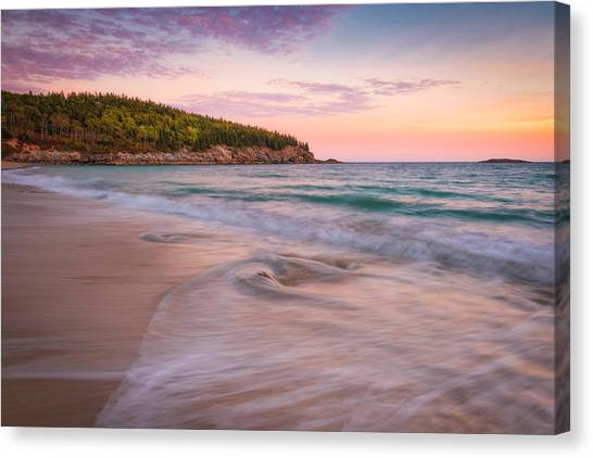 Dusk Glow At Sand Beach Canvas Print