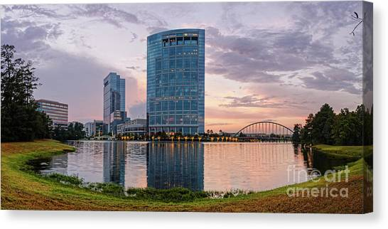 Dusk Panorama Of The Woodlands Waterway And Anadarko Petroleum Towers - The Woodlands Texas Canvas Print
