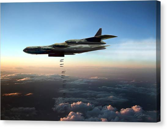 Linebackers Canvas Print - Dusk Strike B-52d by Peter Chilelli
