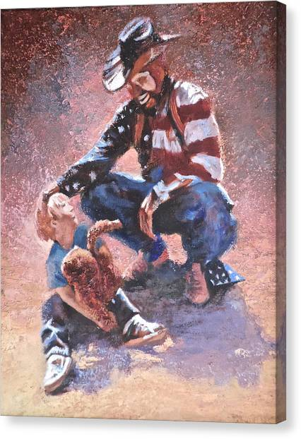 Rodeo Clown Canvas Print - Dust It Off Son by Mia DeLode