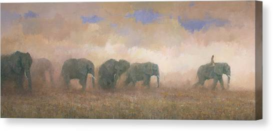 Canvas Print featuring the painting Dust Riders by Steve Mitchell