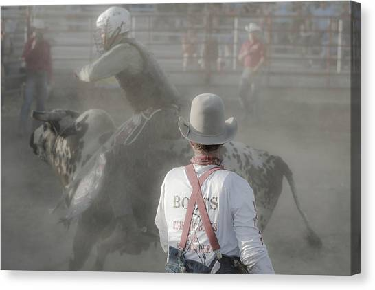 Rodeo Clown Canvas Print - Dust Storm Bull Rider by Steven Bateson
